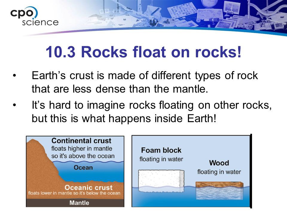 10.3 Rocks float on rocks! Earth's crust is made of different types of rock that are less dense than the mantle.