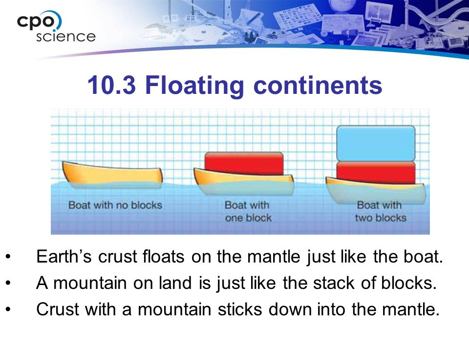 10.3 Floating continents Earth's crust floats on the mantle just like the boat. A mountain on land is just like the stack of blocks.