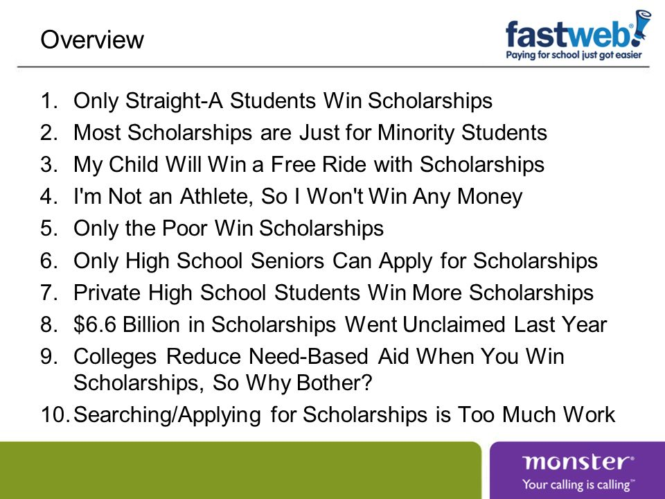 Overview Only Straight-A Students Win Scholarships