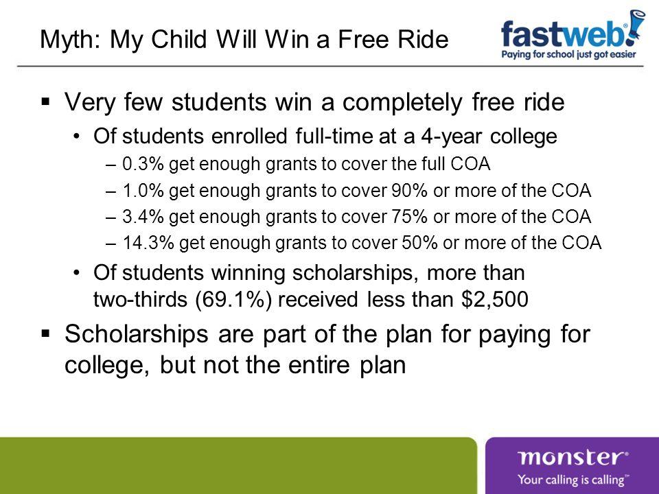 Myth: My Child Will Win a Free Ride