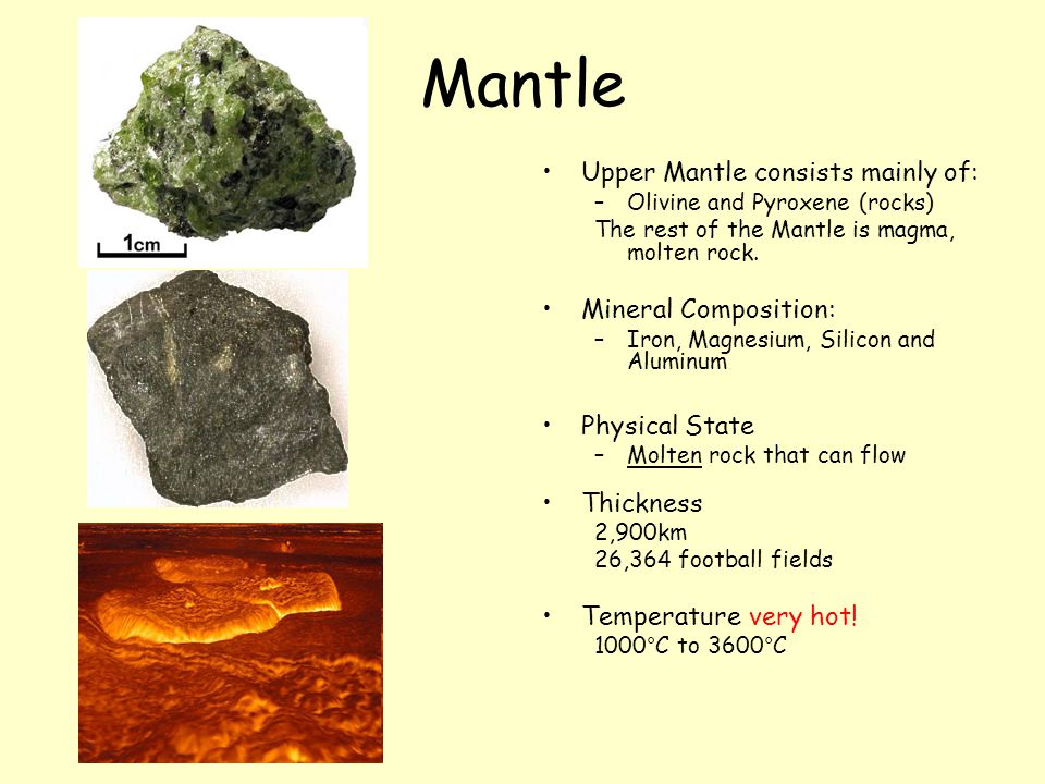 Mantle Upper Mantle consists mainly of: Mineral Composition: