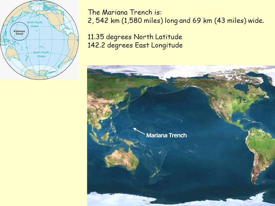 The Mariana Trench is: 2, 542 km (1,580 miles) long and 69 km (43 miles) wide. 11.35 degrees North Latitude.