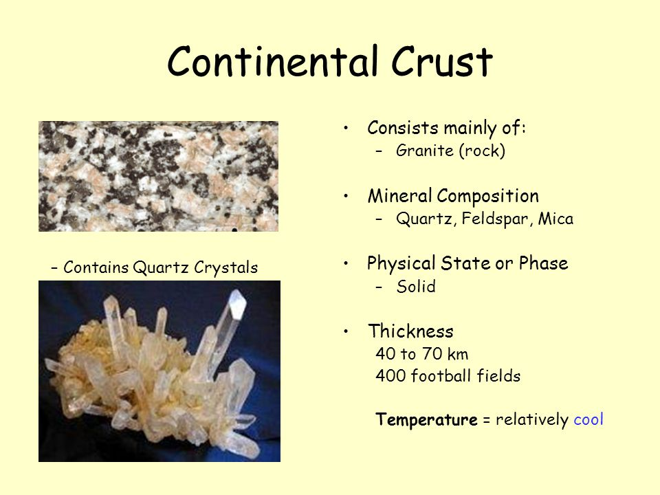 Continental Crust Consists mainly of: Mineral Composition