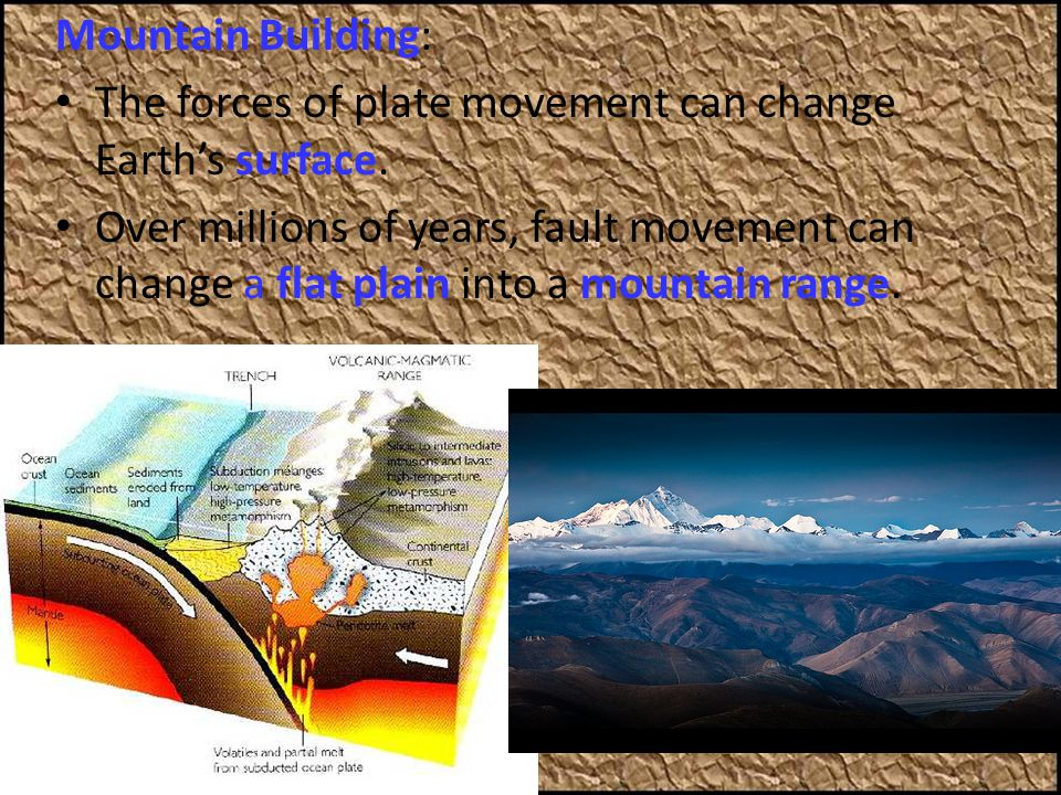 Mountain Building: The forces of plate movement can change Earth's surface.