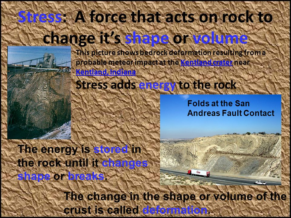 Stress: A force that acts on rock to change it's shape or volume