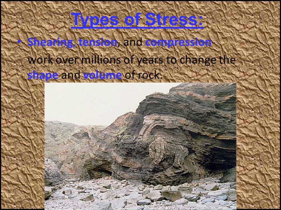 Types of Stress: Shearing, tension, and compression