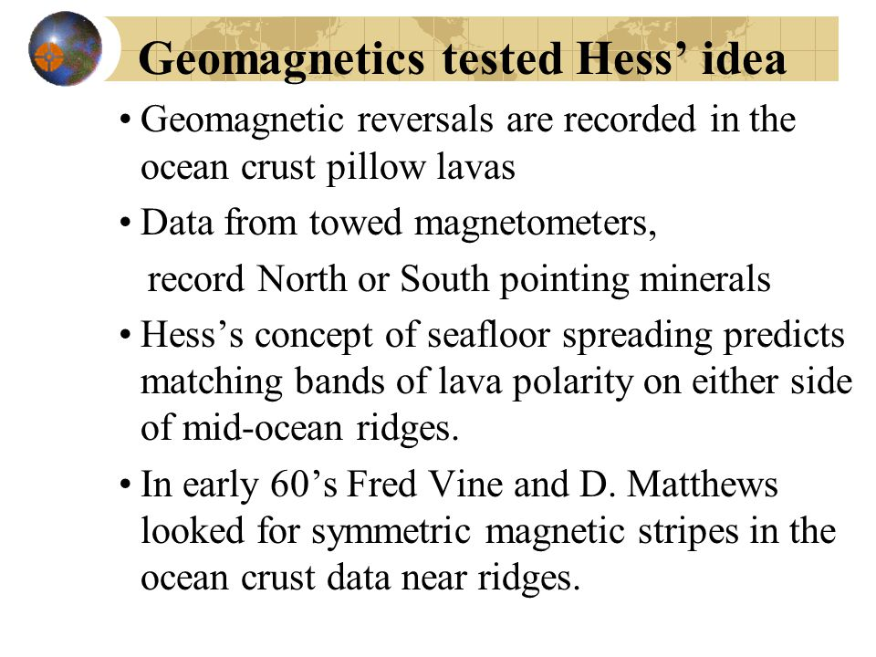 Geomagnetics tested Hess' idea