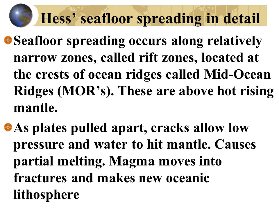 Hess' seafloor spreading in detail