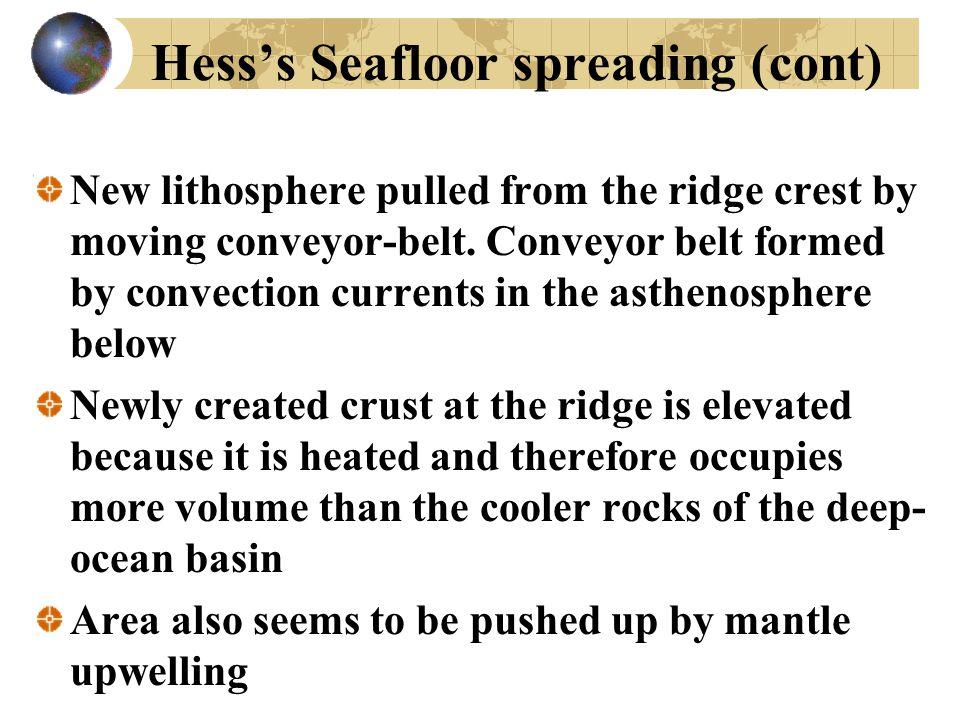 Hess's Seafloor spreading (cont)