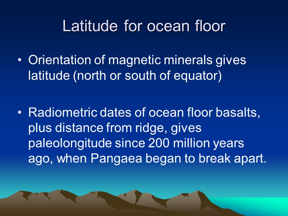Latitude for ocean floor