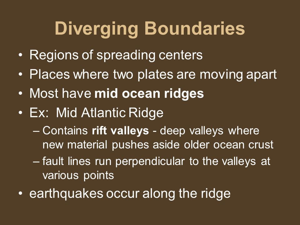 Diverging Boundaries Regions of spreading centers