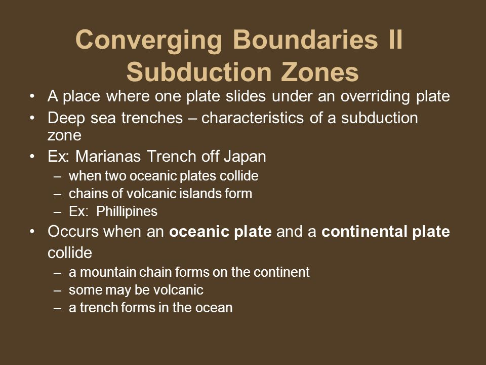 Converging Boundaries II Subduction Zones