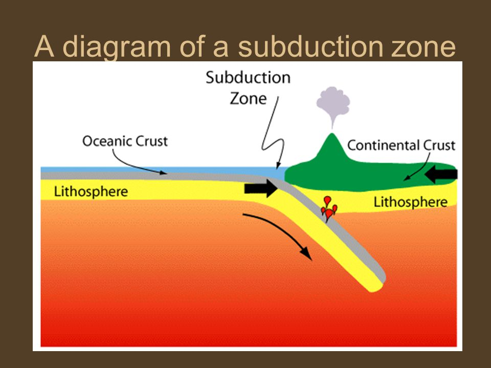 A diagram of a subduction zone