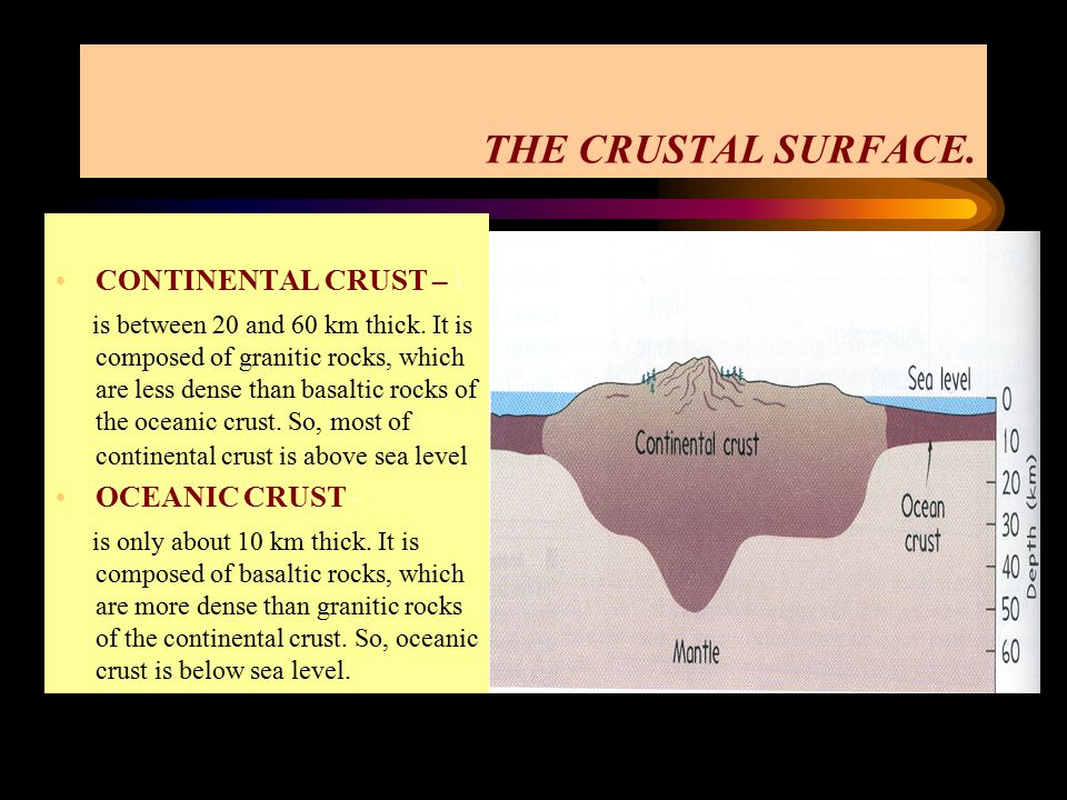 THE CRUSTAL SURFACE. CONTINENTAL CRUST – i