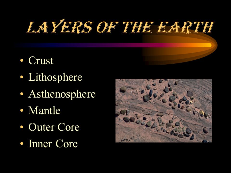 Layers of the Earth Crust Lithosphere Asthenosphere Mantle Outer Core