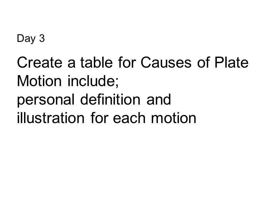 Create a table for Causes of Plate Motion include;