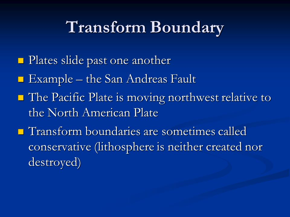 Transform Boundary Plates slide past one another