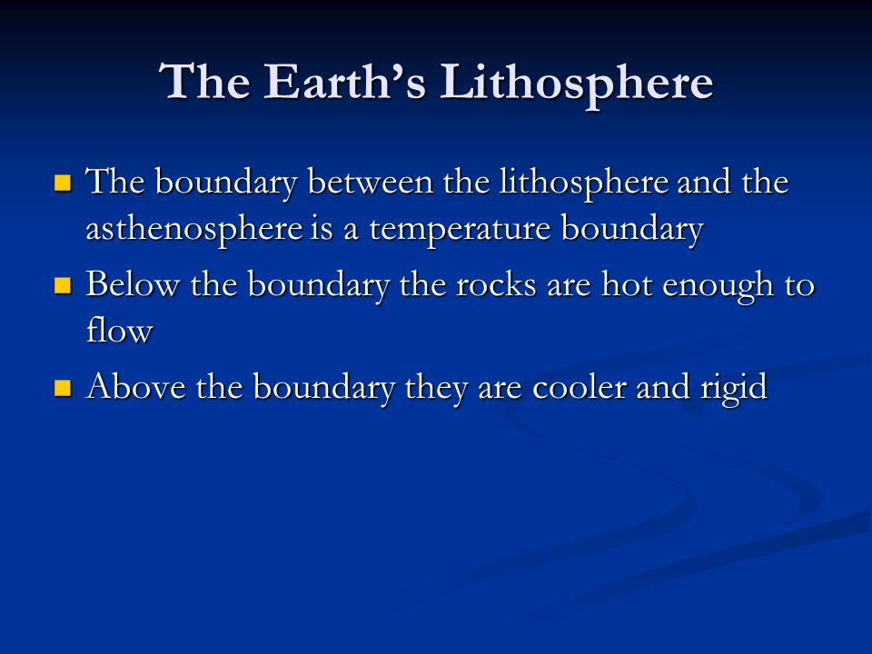 The Earth's Lithosphere