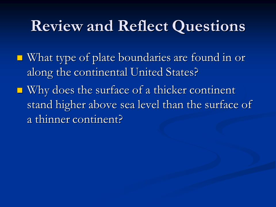 Review and Reflect Questions