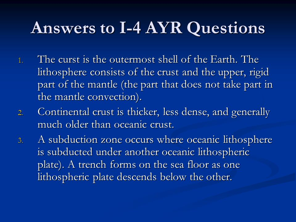 Answers to I-4 AYR Questions