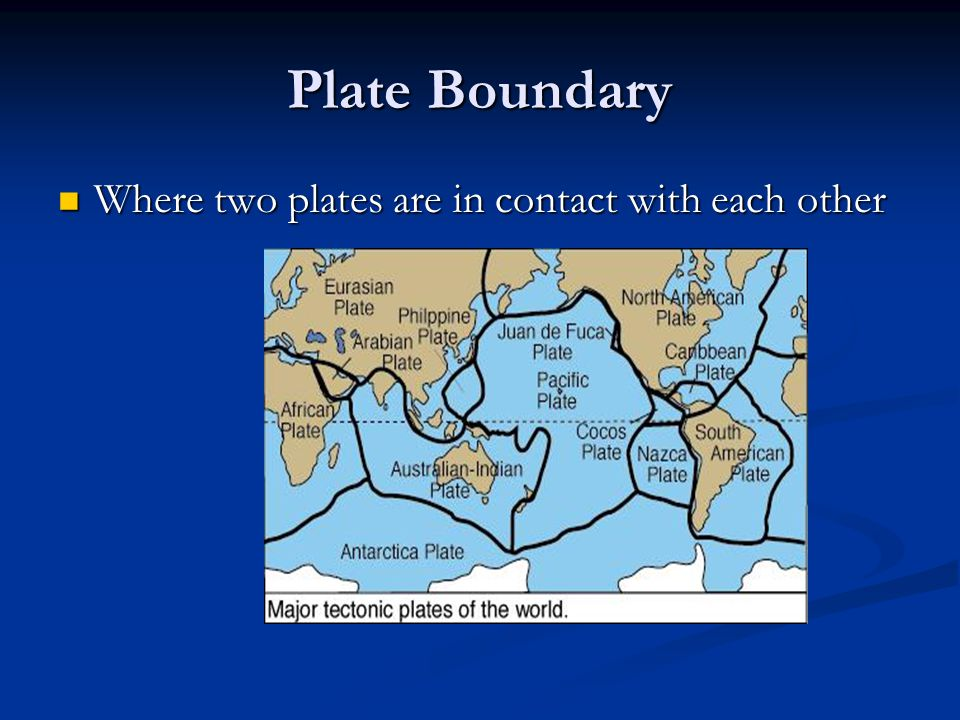 Plate Boundary Where two plates are in contact with each other
