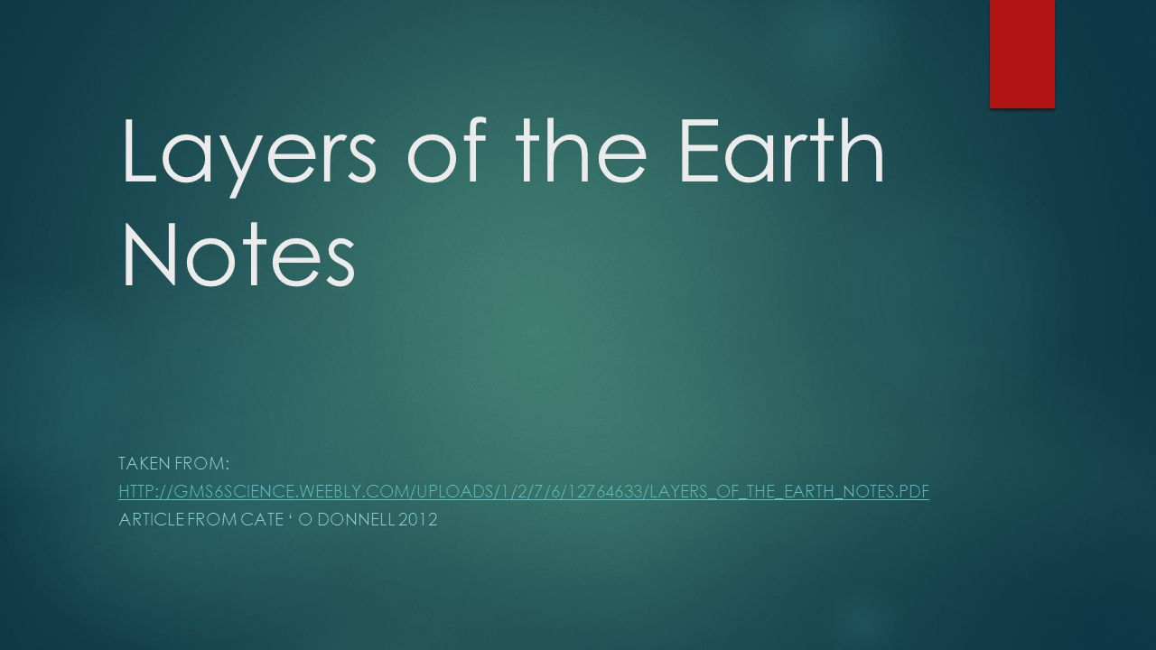 Layers of the Earth Notes