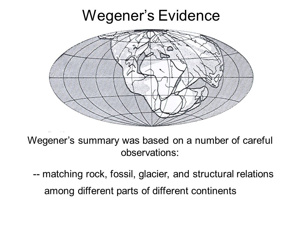 Wegener's summary was based on a number of careful observations:
