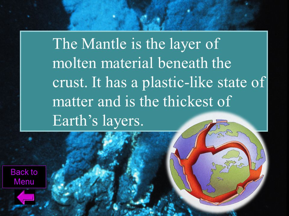 The Mantle is the layer of molten material beneath the crust