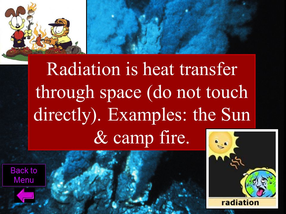 Radiation is heat transfer through space (do not touch directly)