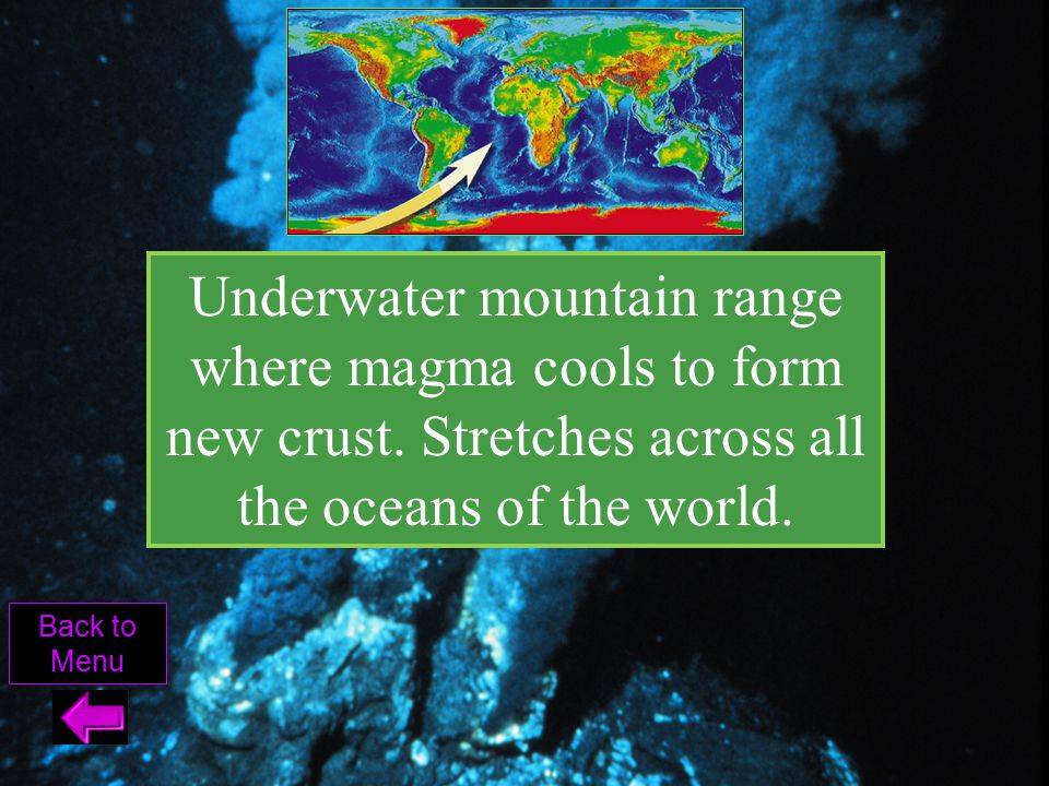 Underwater mountain range where magma cools to form new crust