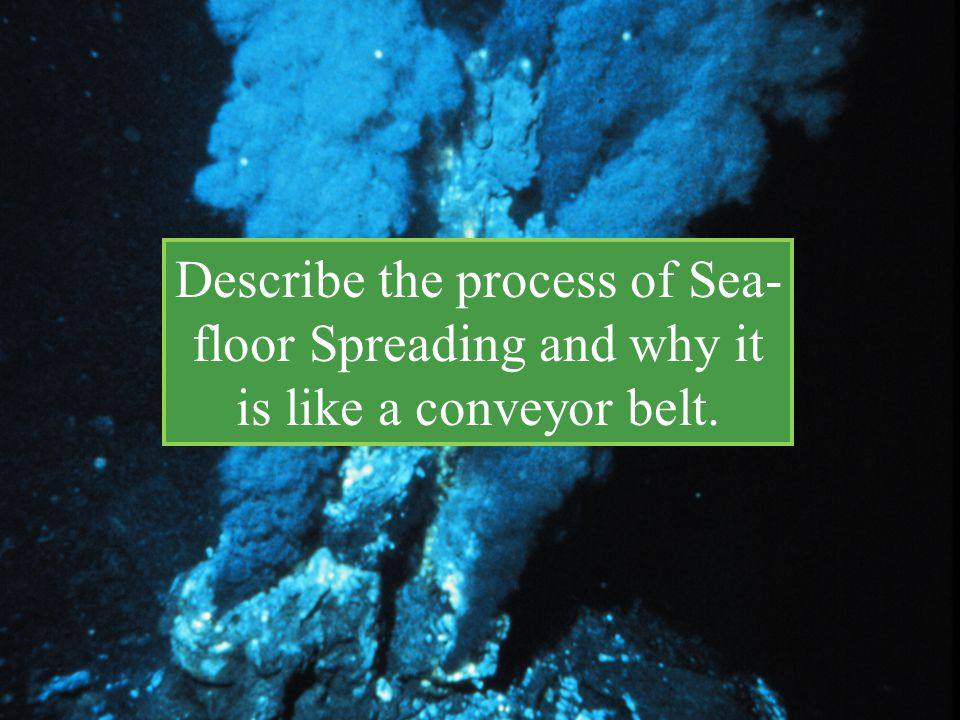 Describe the process of Sea-floor Spreading and why it is like a conveyor belt.