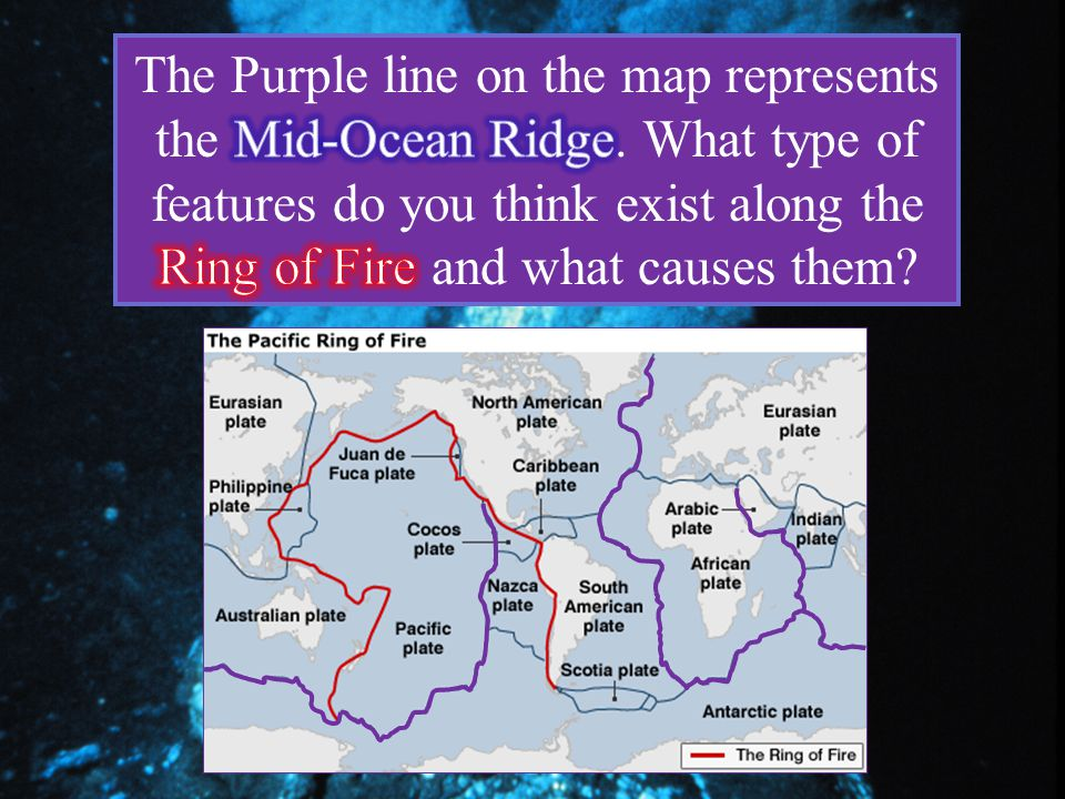 The Purple line on the map represents the Mid-Ocean Ridge