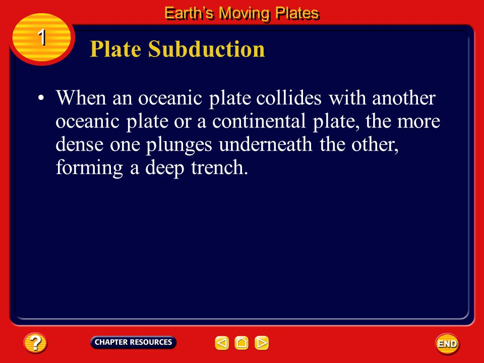 Earth's Moving Plates 1. Plate Subduction.