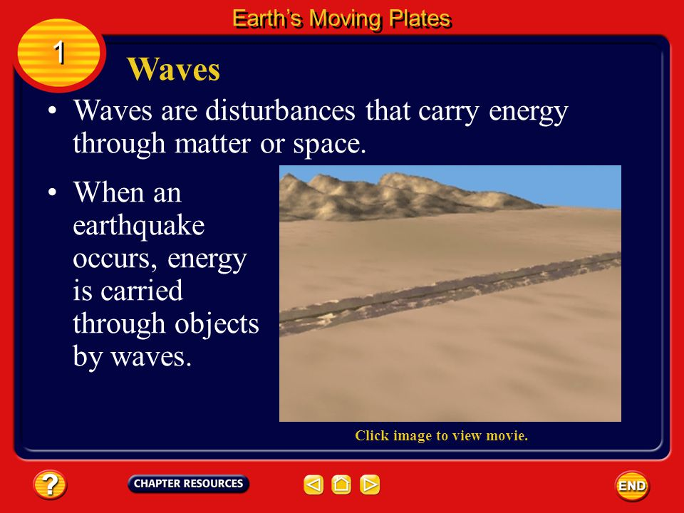 Earth's Moving Plates 1. Waves. Waves are disturbances that carry energy through matter or space.