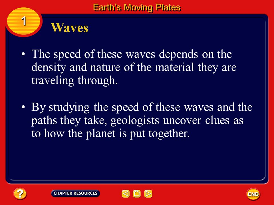 Earth's Moving Plates 1. Waves. The speed of these waves depends on the density and nature of the material they are traveling through.