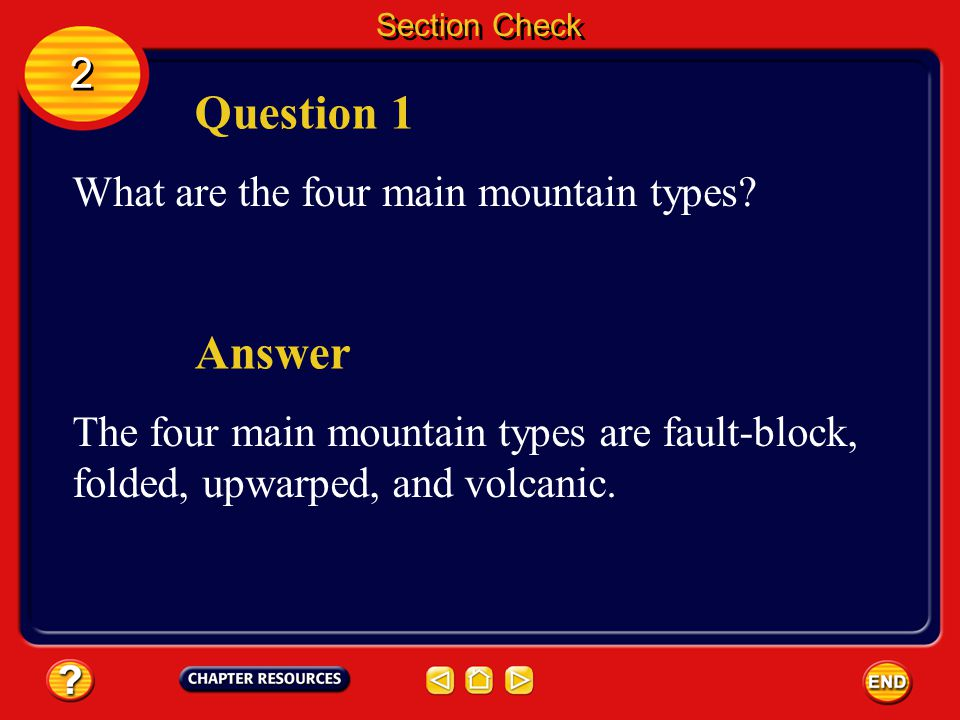 Question 1 Answer 2 What are the four main mountain types