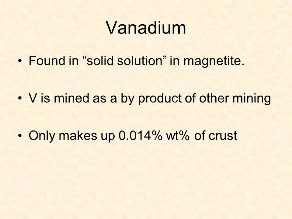 Vanadium Found in solid solution in magnetite.
