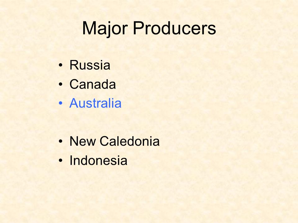 Major Producers Russia Canada Australia New Caledonia Indonesia