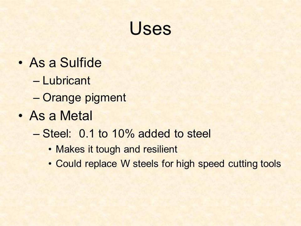 Uses As a Sulfide As a Metal Lubricant Orange pigment