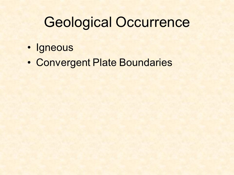 Geological Occurrence