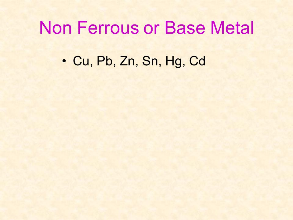 Non Ferrous or Base Metal