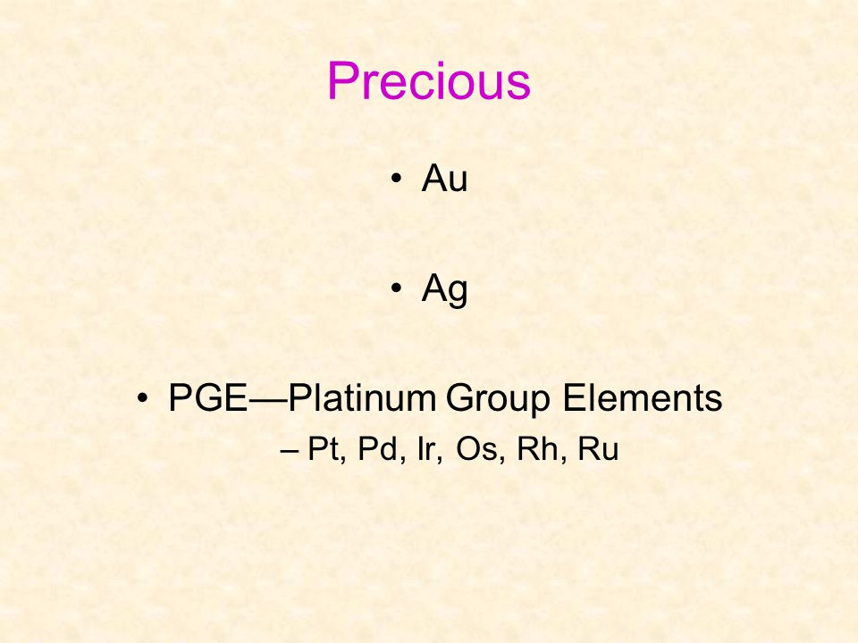 PGE—Platinum Group Elements