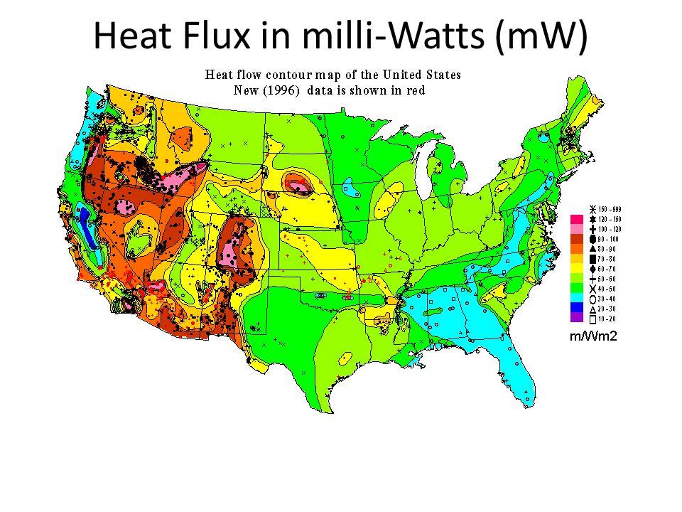 Heat Flux in milli-Watts (mW)