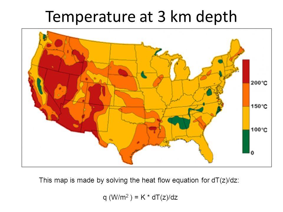 Temperature at 3 km depth