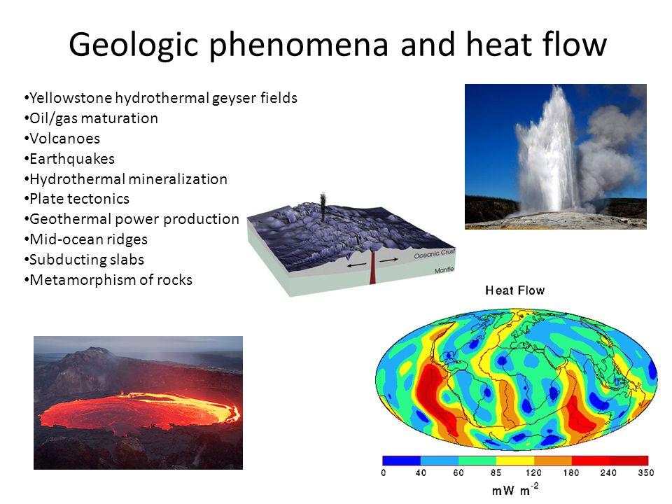 Geologic phenomena and heat flow