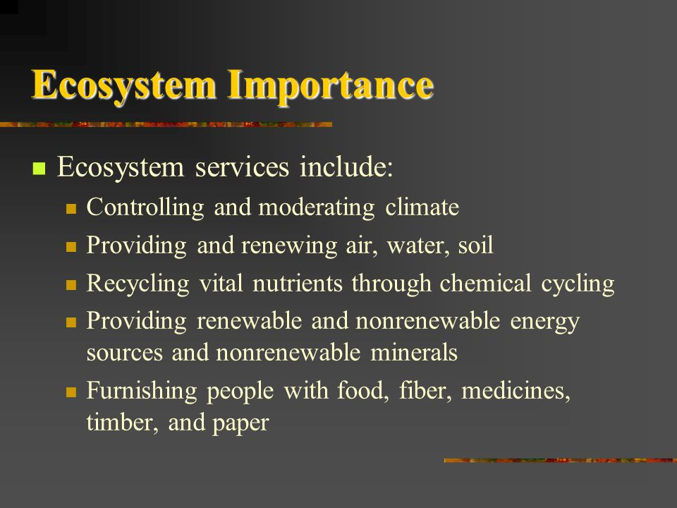 Ecosystem Importance Ecosystem services include:
