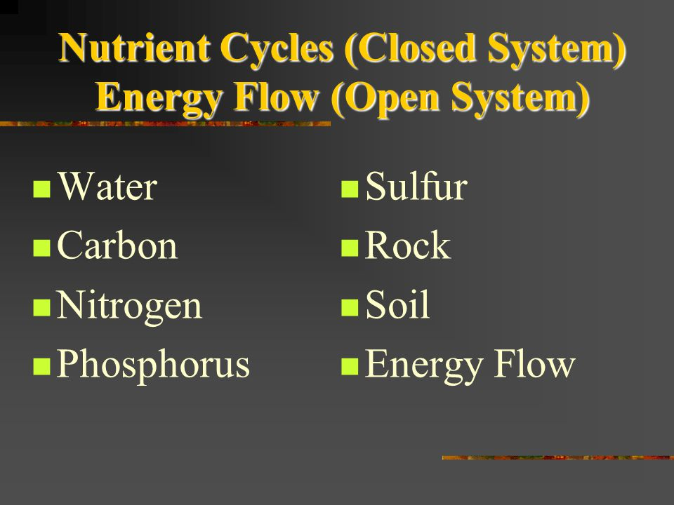 Nutrient Cycles (Closed System) Energy Flow (Open System)