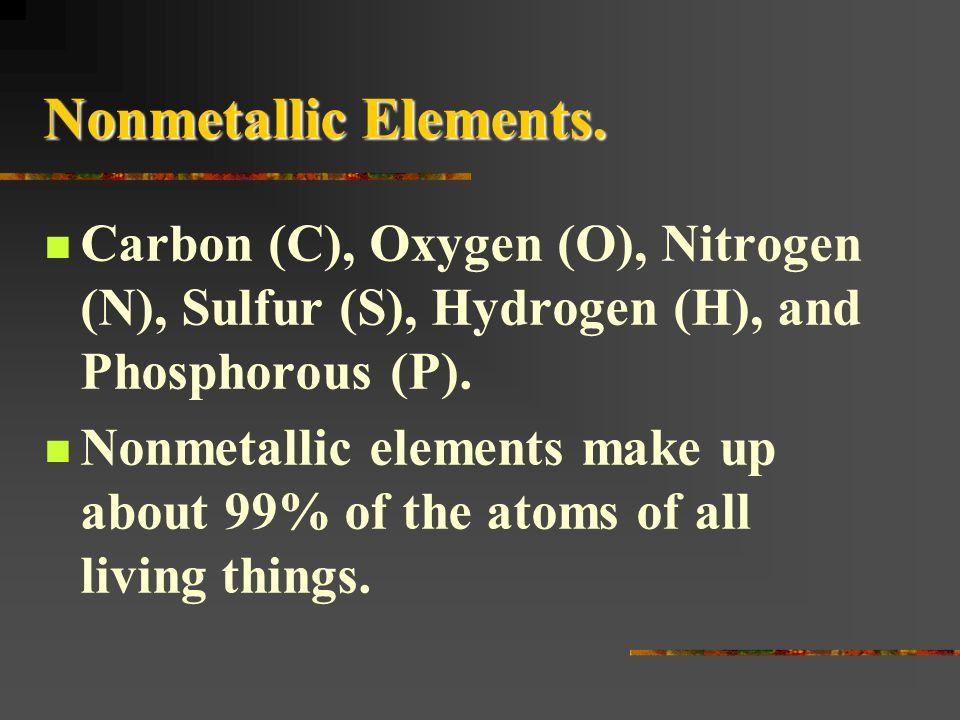 Nonmetallic Elements. Carbon (C), Oxygen (O), Nitrogen (N), Sulfur (S), Hydrogen (H), and Phosphorous (P).