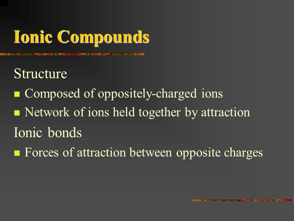 Ionic Compounds Structure Ionic bonds