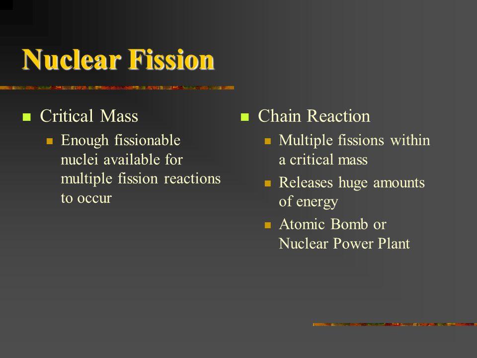 Nuclear Fission Critical Mass Chain Reaction